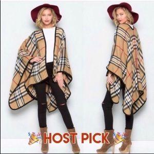 Plaid camel cape -new! Boutique wardrobe staple-OS